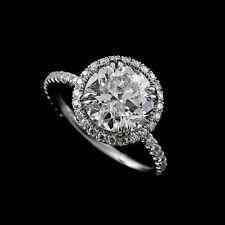 Cut Down Micropave Diamond 14k White Gold Halo Modern Engagement Ring Mountig
