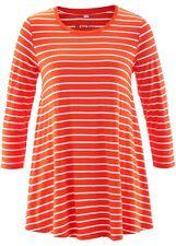 Mujer Tunika Camisa con 3/4 Mangas, 240580 in mandarinrot/blanco