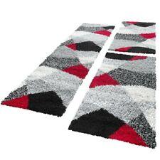 Bettumrandung Läufer Hochflor Shaggy Teppich Weich Rot Grau Läuferset 3 Tlg