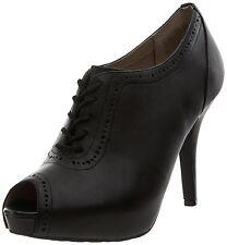 Rockport UK 3 Sasha Black Leather Brogue Shootie Victorian Style Peep Toe Boots
