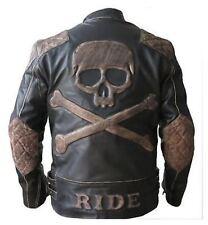 Men's Biker Vintage Moto effet vieilli noir rétro Rider Veste en cuir avec crâne