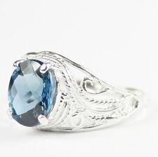 LONDON BLUE TOPAZ 10k White Gold Ladies Ring -Handmade • R083