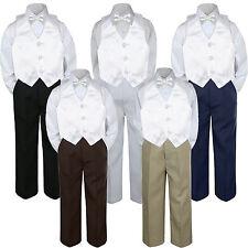 4pc Boy Baby Toddler Kid White Vest Bow Tie Formal Pants Set Suit sz S-7