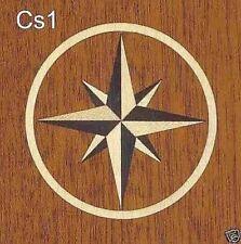 "5"" Diameter Compass Star Veneer Inlay Marquetry Medallion - Mahogany or Black"