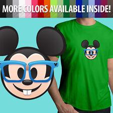Nerd Glasses Mickey Mouse Face Emoji Disney Unisex Mens Tee Crew Neck T-Shirt