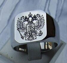 EDELSTAHL GRAVUR RING SIEGEL RING WAPPEN  RUSSISCHER ADLER DOPPEL ADLER POLIERT