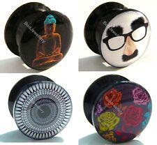 Acrylic Screw Buddha, Mask, Pattern, Roses Ear Tunnel Plug 6mm to 25mm