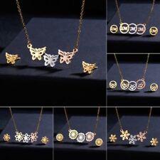 Gold Stainless Steel Butterfly Jewelry Set Women Pendant Necklace Earrings Gift