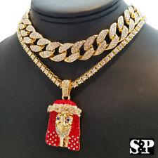 "Hip Hop Lil Yachty RED JESUS 18"" Full Iced Cuban & 1 ROW Tennis Choker Chain Set"