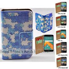 For HTC One X9 10 M9 M8 Desire 820 626 - Blue Puzzle Print Wallet Phone Case