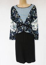BNWT NEXT navy jersey chiffon mix floral print day casual tunic dress 16 18