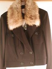 Ann Taylor Loft Faux Fur Ponte Cropped Jacket Blazer S  Black NWT