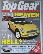 Top Gear 07/2001 featuring Lamborghini Diablo, Pagani Zonda, Mini Cooper S