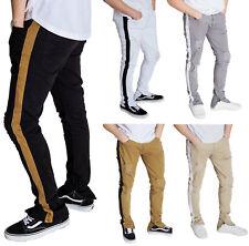 Kayden.K Skinny Fit Stretch Twill Striped Ankle Zip Pants