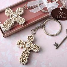 25-144 Vintage Baroque Design Cross Key Chain - Religious Wedding Baptism Favor