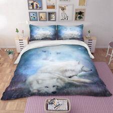 White Wolves Duvet Cover Pillowcase Twin Full Queen King Bedding Set Animal
