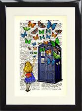 Dictionnaire page art imprimé alice au pays des merveilles tardis papillons doctor who cadeau
