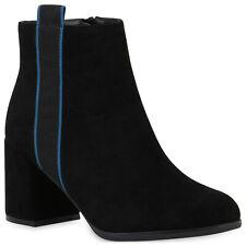 Damen Klassische Stiefeletten Leicht Gefütterte Chunky Heel Boots 831821 Schuhe