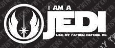 Star Wars Jedi like my father car truck vinyl decal sticker luke skywalker yoda