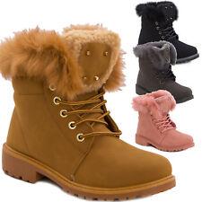 Stivali donna scarponcini scarpe stringati pelliccia anfibi caldi nuovi W8120