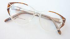 Brille große Gläser Fassung Kunststoff transparent braun Damen Federbügel size M
