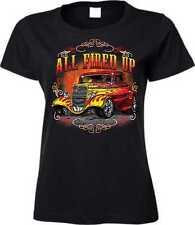 T Shirt in schwarz mit einem Hot Rod-&`50 Stylemotiv Modell All Fired Up