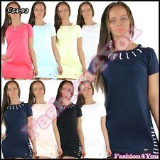 Sexy Women's Mini Dress Casual Ladies Tunic Dress Long Top One Size 8,10,12,14