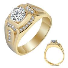 18K Bague plaque or Bague de fiancailles pour mariage avec diamant pour hommes,