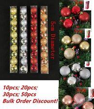 50 CHRISTMAS TREE BAUBLES DECORATION BAUBLE 5cm GLITTER PARTY ORNAMENT DECOR