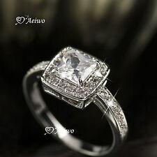 18K WHITE GOLD FILLED SIMULATED DIAMOND WEDDING BAND ENGAGEMENT RING ELEGANT