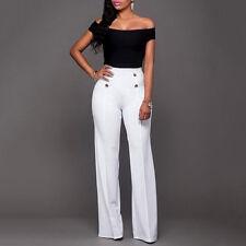 Women Solid High Waist Wide Leg Flared Pants Ladies Loose Trousers shan