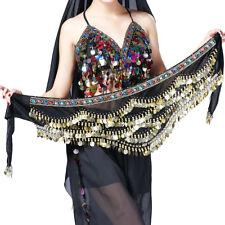 Belly Dance Costume Hip Scarf Indian Dancer Belt Velvet Coins Bellydance Traning
