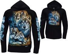 New Wolf Pack Biker Native American Indian Animal Zip Zipped Hoodie Hoody Jacket