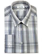 Calvin Klein Steel 100% Cotton Slim Fit Plaids Dress Shirt Night