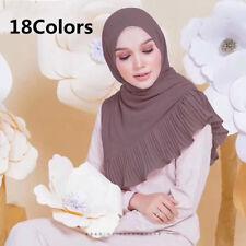 Pleated Chiffon Scarf Hijab High Quality Elegant Sarong Shawl Wrap Plain Maxi