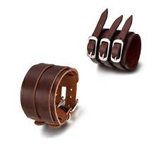 2pcs Punk Rock Cool Men Women Wide Leather Belt Bracelet Cuff Wristband Bangle