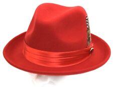 Men's Fedora Dress Hat Solid Red UN-105 Size S, M, L, XL 100% Australian Wool