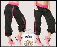 Zumba Cargo Long Pants Gold Foil Metallics - Converts to Capri w Side Snaps XS S