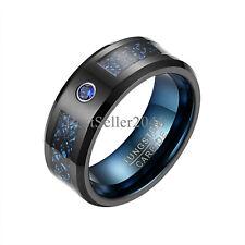 Men 8mm Blue Carbon Fiber Black Tungsten Celtic Dragon Comfort Fit Wedding Ring