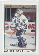 1991-92 O-Pee-Chee Premier #182 Kay Whitmore Hartford Whalers Hockey Card