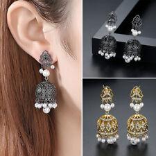 Indian Bollywood Meenakari JHUMKI Pista Boucle d/'oreille plaqué or traditionnel bijoux