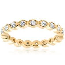 1/3ct Stackable Diamond Wedding Eternity Filigree Wedding Ring 14K Yellow Gold