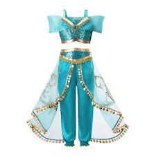 Kids Princess Jasmine Outfits Girls Aladdin Costume Sequin Party Fancy Dresses