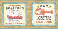 DEEP SEA FISHING FRESH LOBSTER BOATYARD BOATBUILDING 6 7/8 Wallpaper bordeR Wall