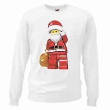 Adults Unisex White Lego Santa Christmas Jumper Day X-Mas Sweatshirt Gift Idea