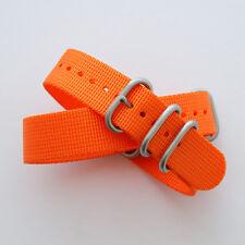 Orange ZULU Watch Strap: 3 Ring: Matt Steel Buckle: 20mm or 22mm (FL120)