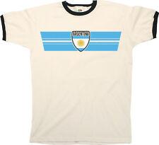 Mens Ringer T-Shirt ARGENTINA RETRO STRIP Football,Olympics,Patriotism