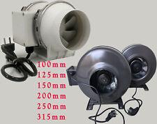 Rohrventilator Rohrlüfter 2 Stufen 100 125 150 200 250 315 mm TOPA1 fuss +kabl