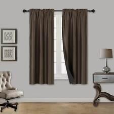 1 SINGLE PANEL 100% BLACKOUT WINDOW CURTAIN ROOM DARKINING ROD POCKET BROWN