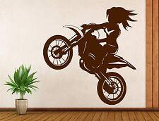 Girl Rider a Bike Stunt Decor Living Room Wall Sticker Vinyl Decal (n383)